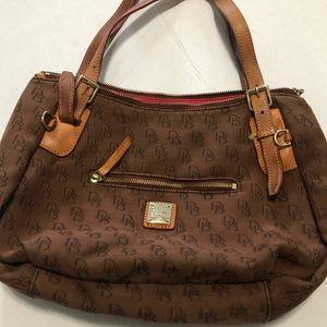 Dooney & Bourke brown all over logo handbag